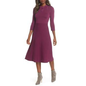 Eliza J Bow Collar Fit and Flare Sweater Dress M